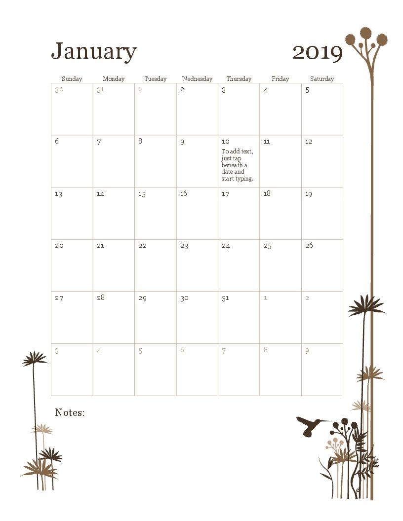 2019 12 Month Calendar (Sun Sat) Calendar 2019 Monthly