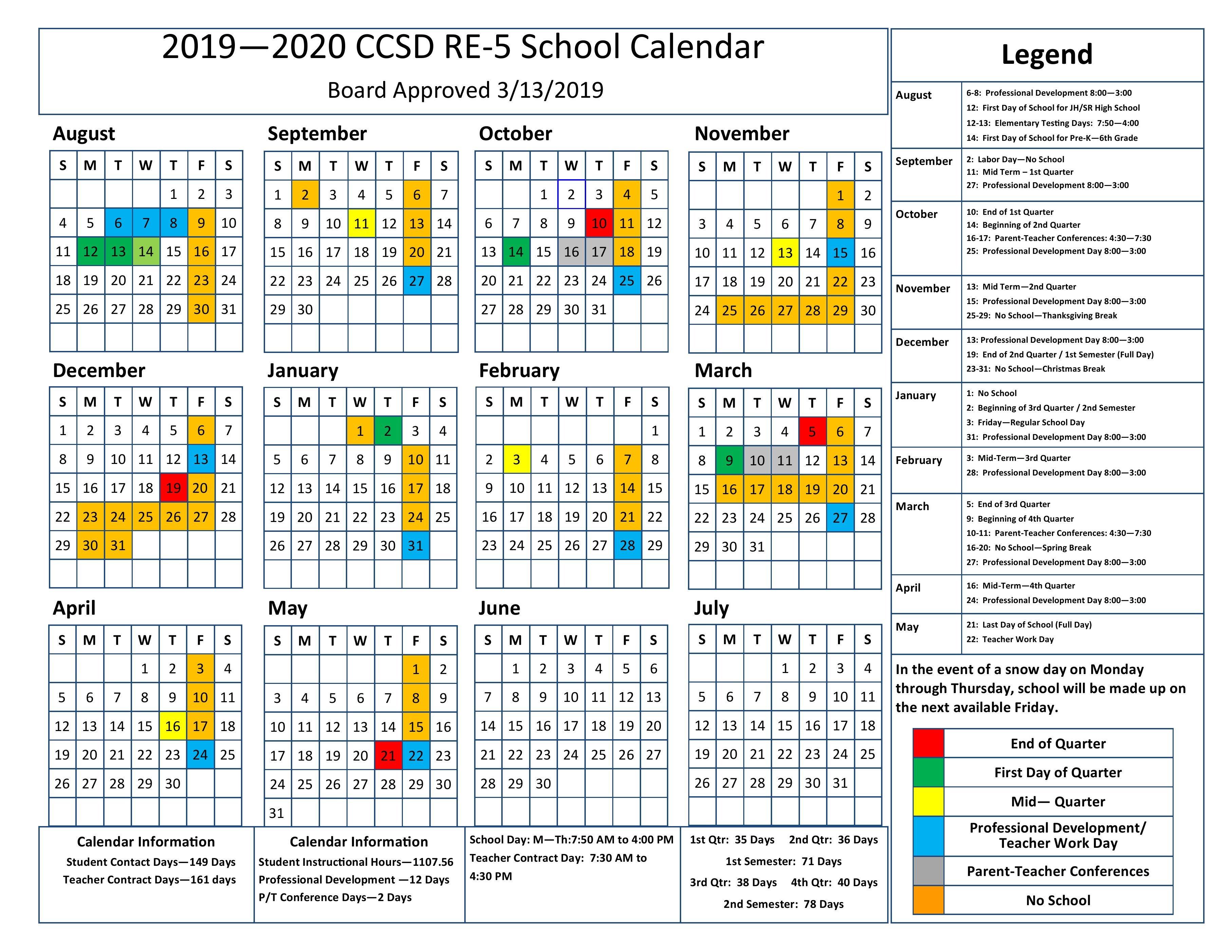 2019 20 School Calendar 3 Term School Calendar 2019