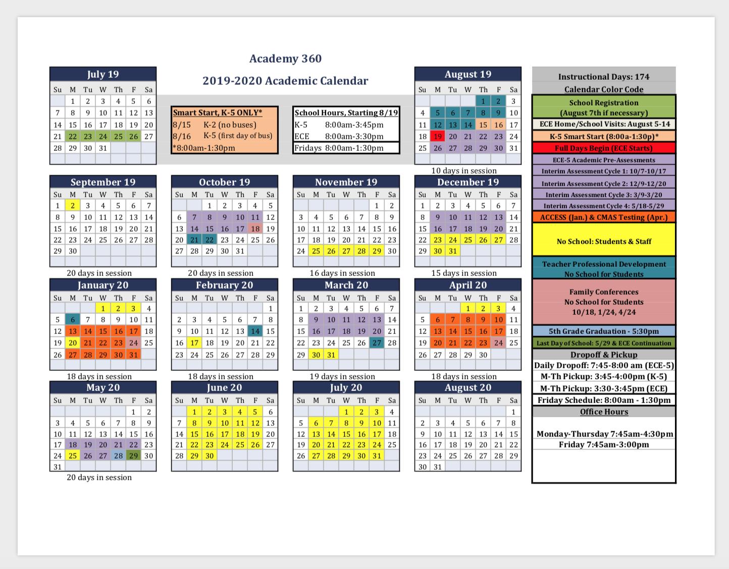 2019 2020 Academic Calendar & Back To School Registration – Academy 360 M Day Calendar 2019