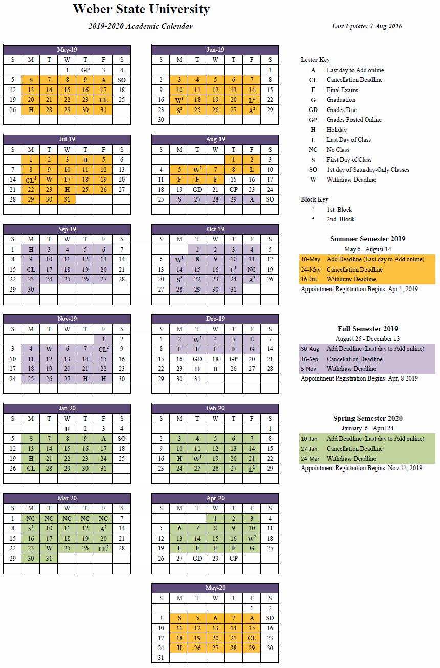 2019 2020 (Approved) Cal U Calendar 2019