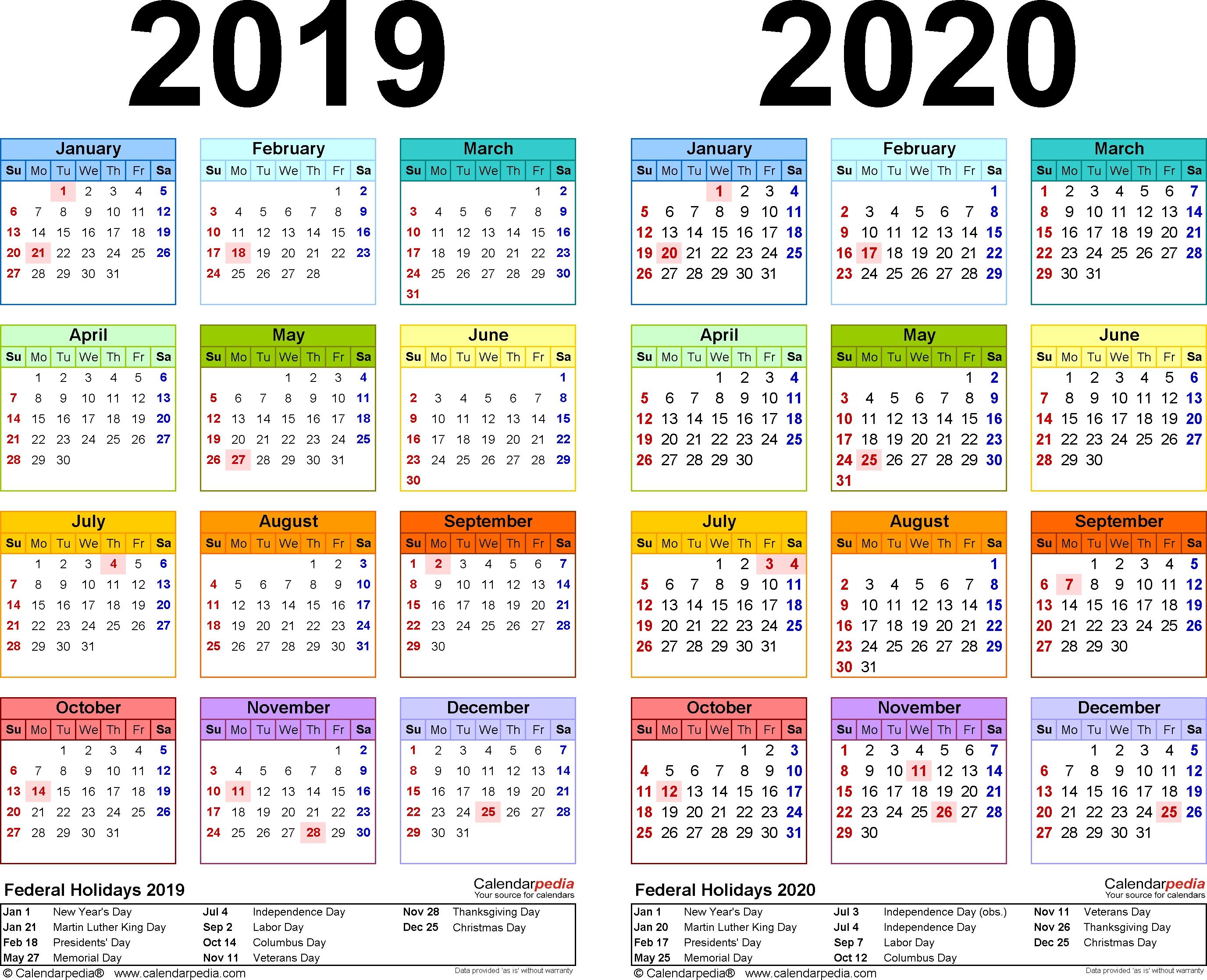 2019 2020 Calendar – Free Printable Two Year Pdf Calendars 2020 Calendar 2019 Indesign