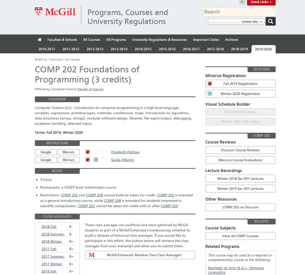 2019 2020 Courses Available On The Ecalendar : Mcgill Mcgill E Calendar 2019
