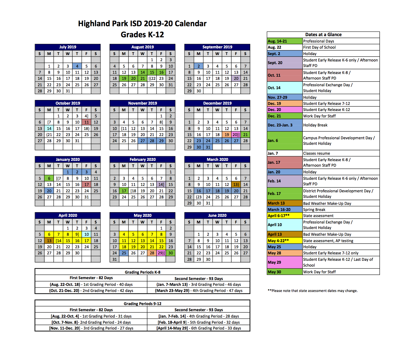 2019 2020 Hpisd Calendar – Calendars – Highland Park Independent U Of M Calendar 2019