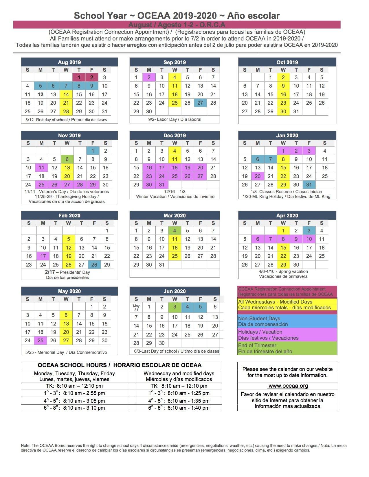 2019 2020 School Year Calendar – Oceaa – A Tk 8Th Santa Ana Charter School District 2 Calendar 2019
