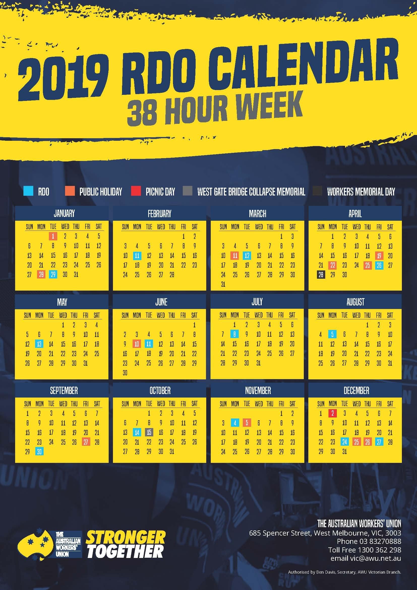 2019 36 And 38 Hour Week Rdo Calendars   Awu Victoria Calendar 2019 Victoria