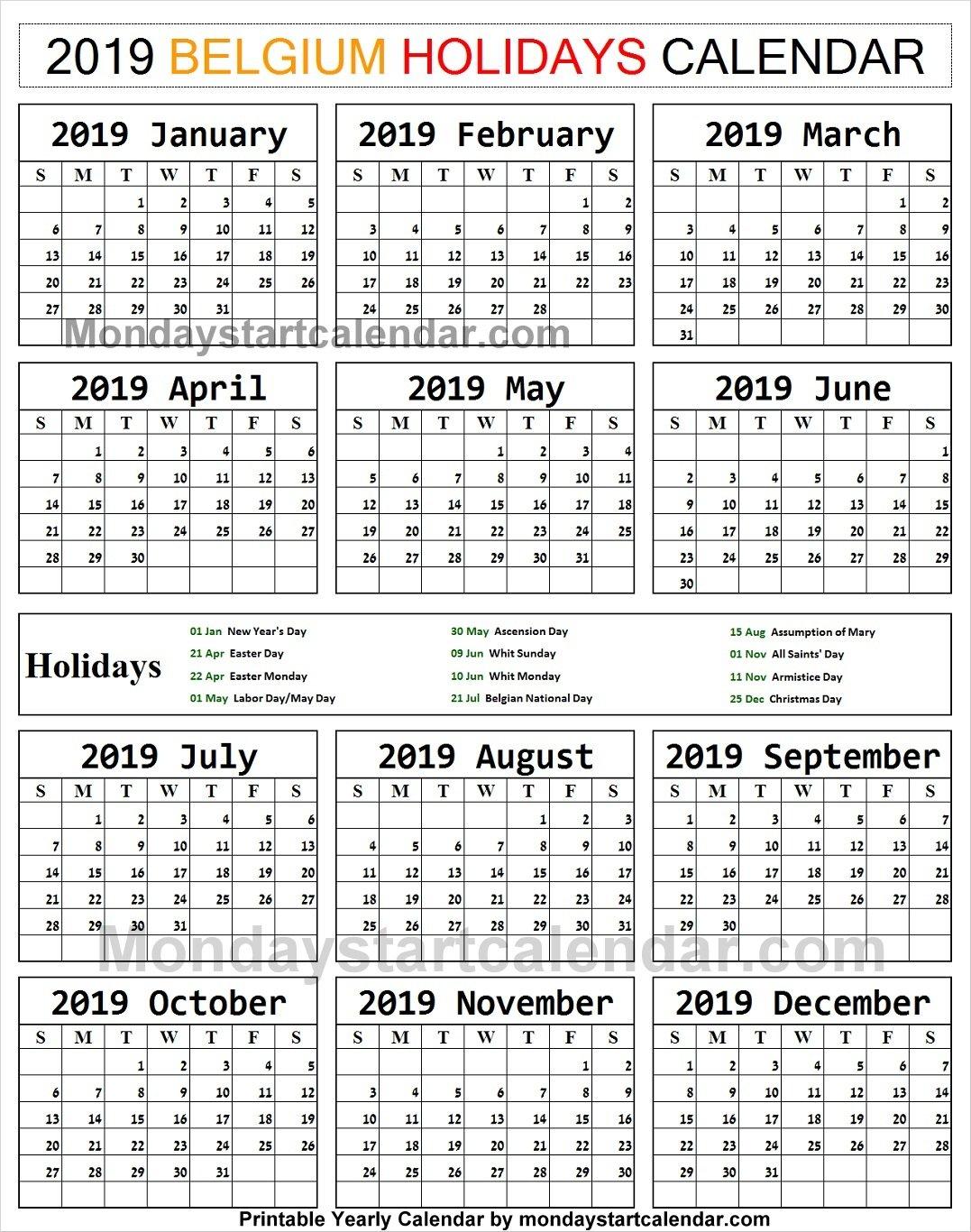 2019 Bank Holidays Belgium Calendar   2019 Austria Calendar Templates Calendar 2019 Belgium