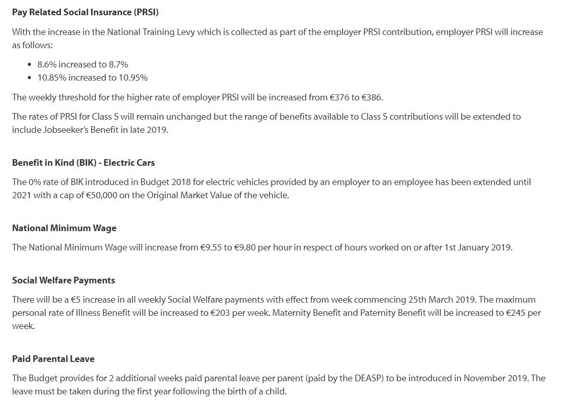 2019 Budget – Employer Summary – Brightpay Documentation 9/80 Calendar 2019