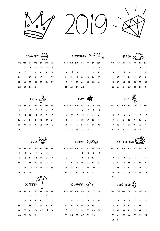 2019 Calendar – Beta Calendars Calendar 2019 Printable