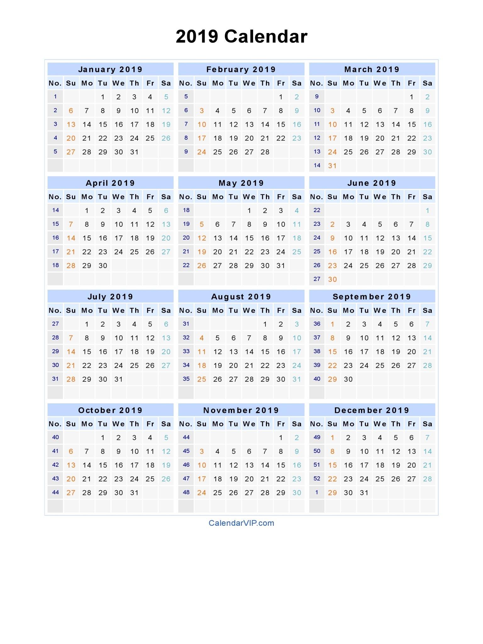 2019 Calendar – Blank Printable Calendar Template In Pdf Word Excel Calendar 2019 Excel With Week Numbers