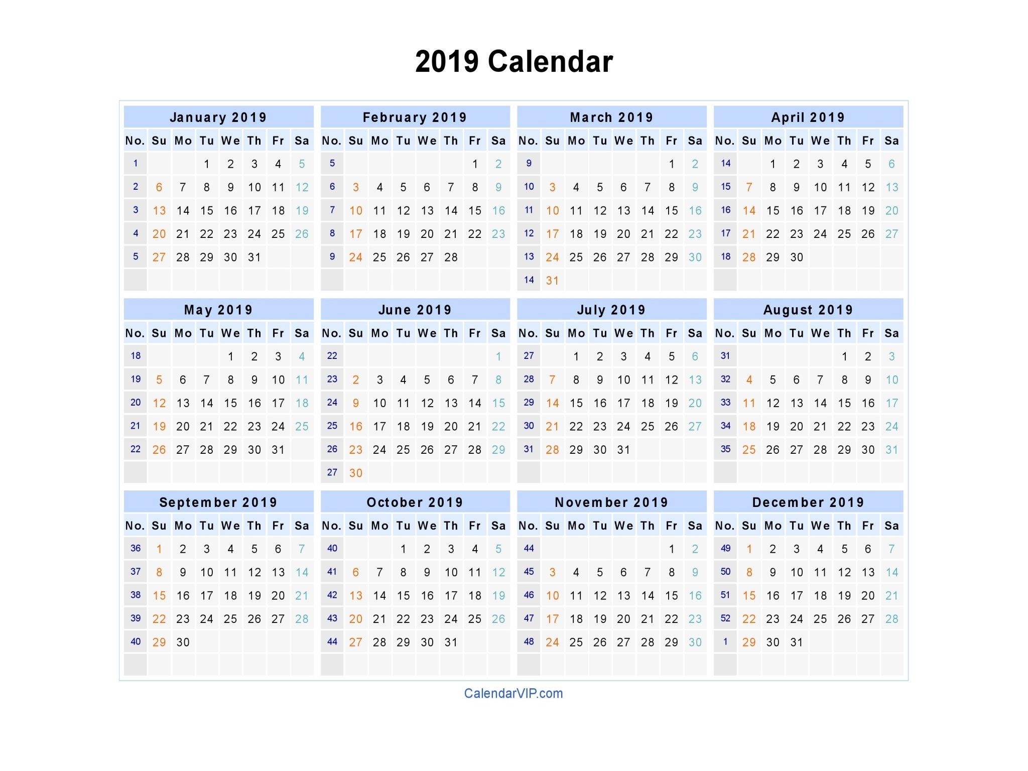 2019 Calendar - Blank Printable Calendar Template In Pdf Word Excel Calendar 2019 Excel With Week Numbers
