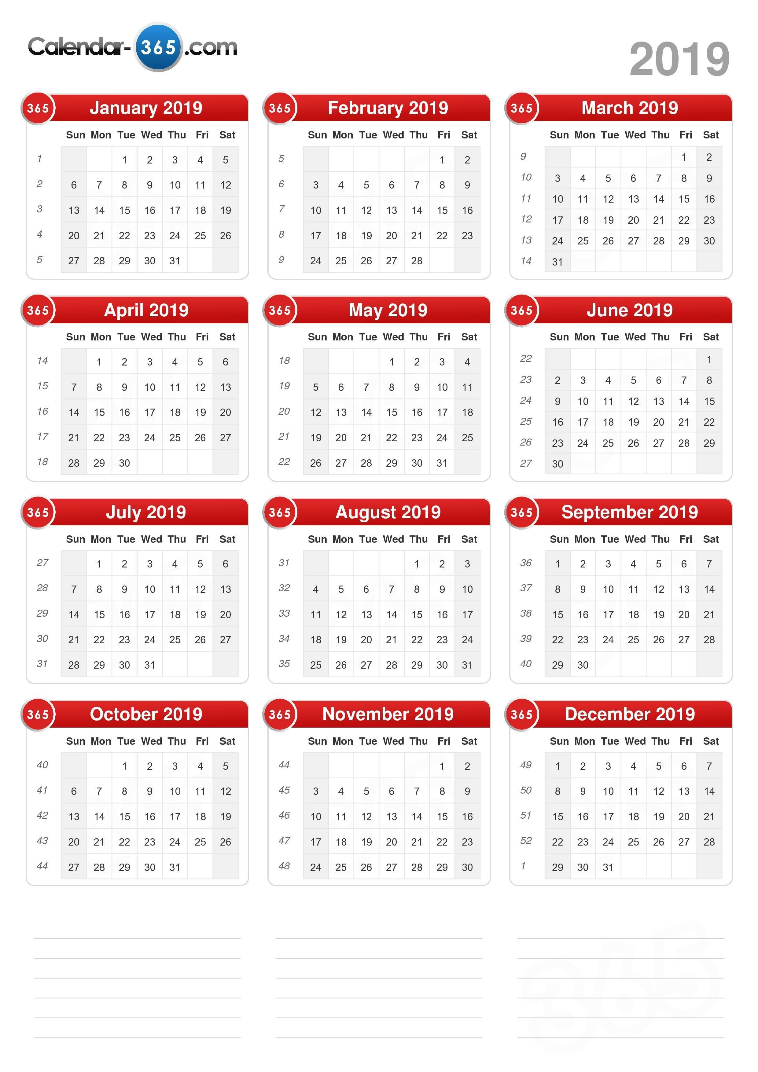 2019 Calendar Calendar 2019