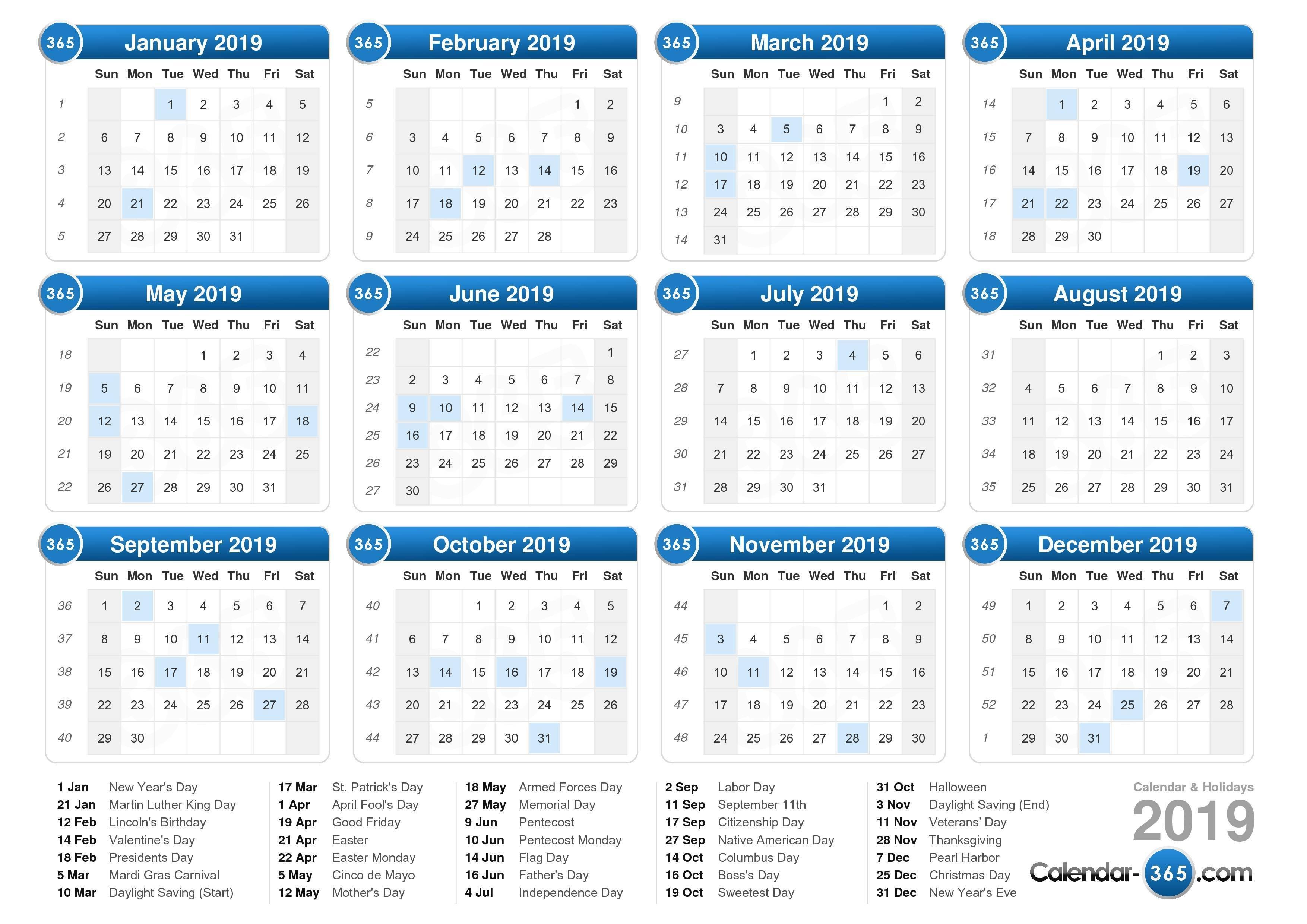 2019 Calendar Calendar 2019 Numbered Weeks