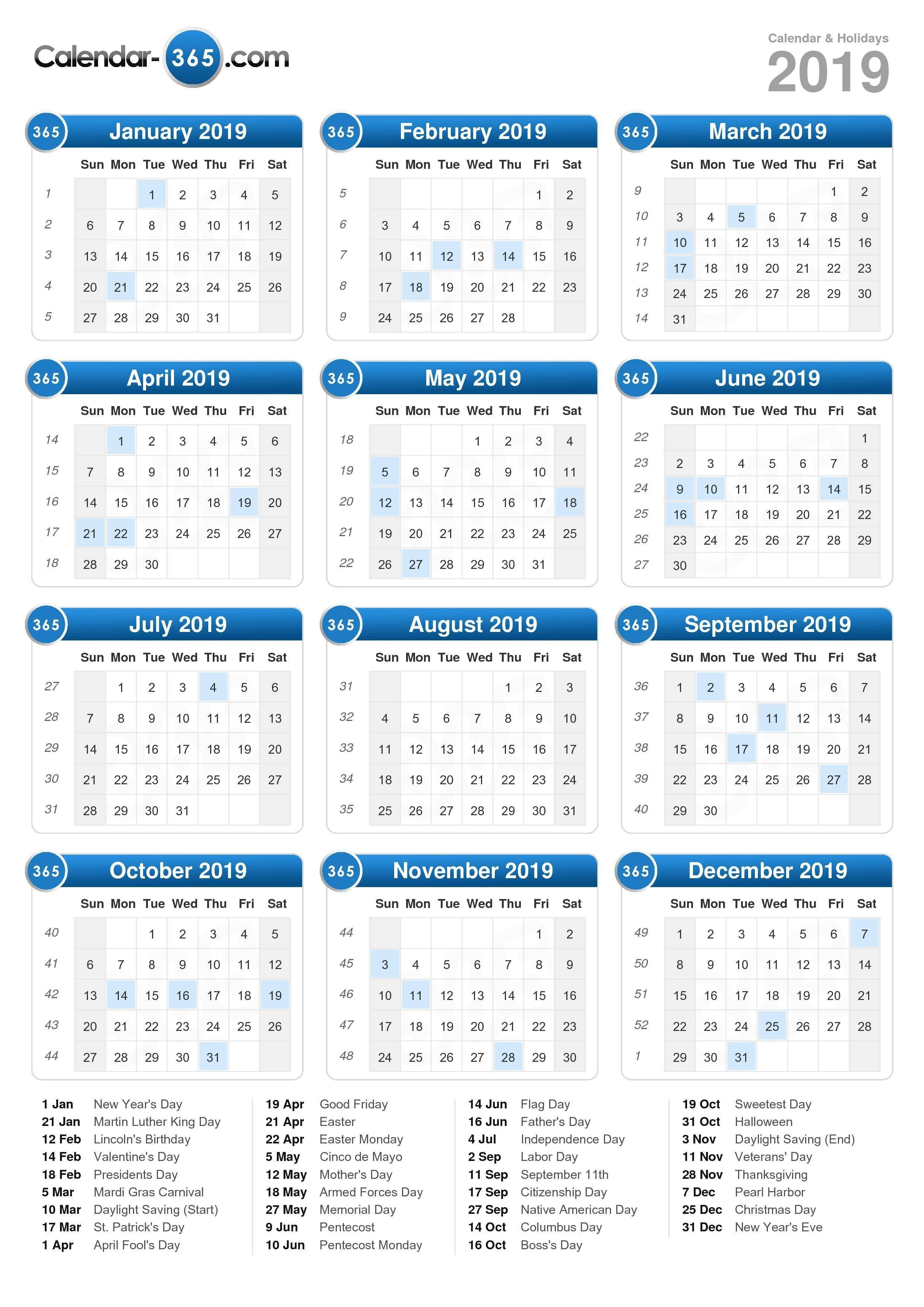 2019 Calendar Calendar Of 2019 With Holidays