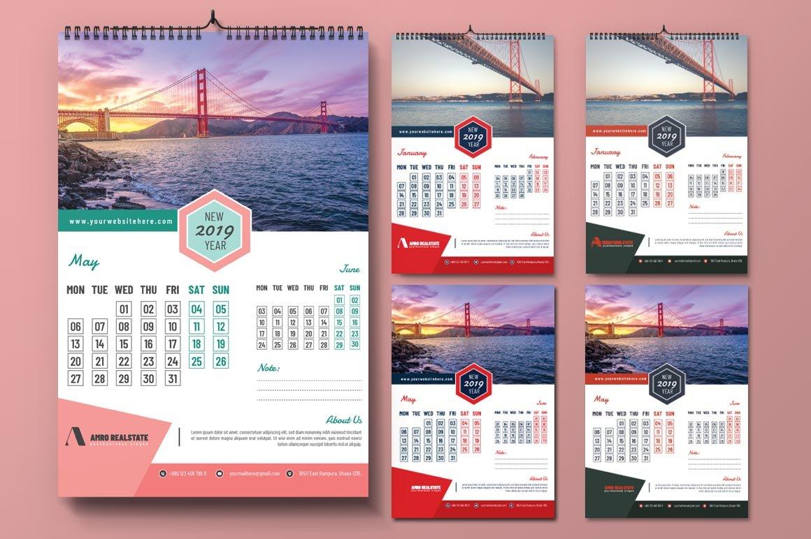 2019 Calendar Design Template – Photoshop Action Calendar 2019 Template Psd