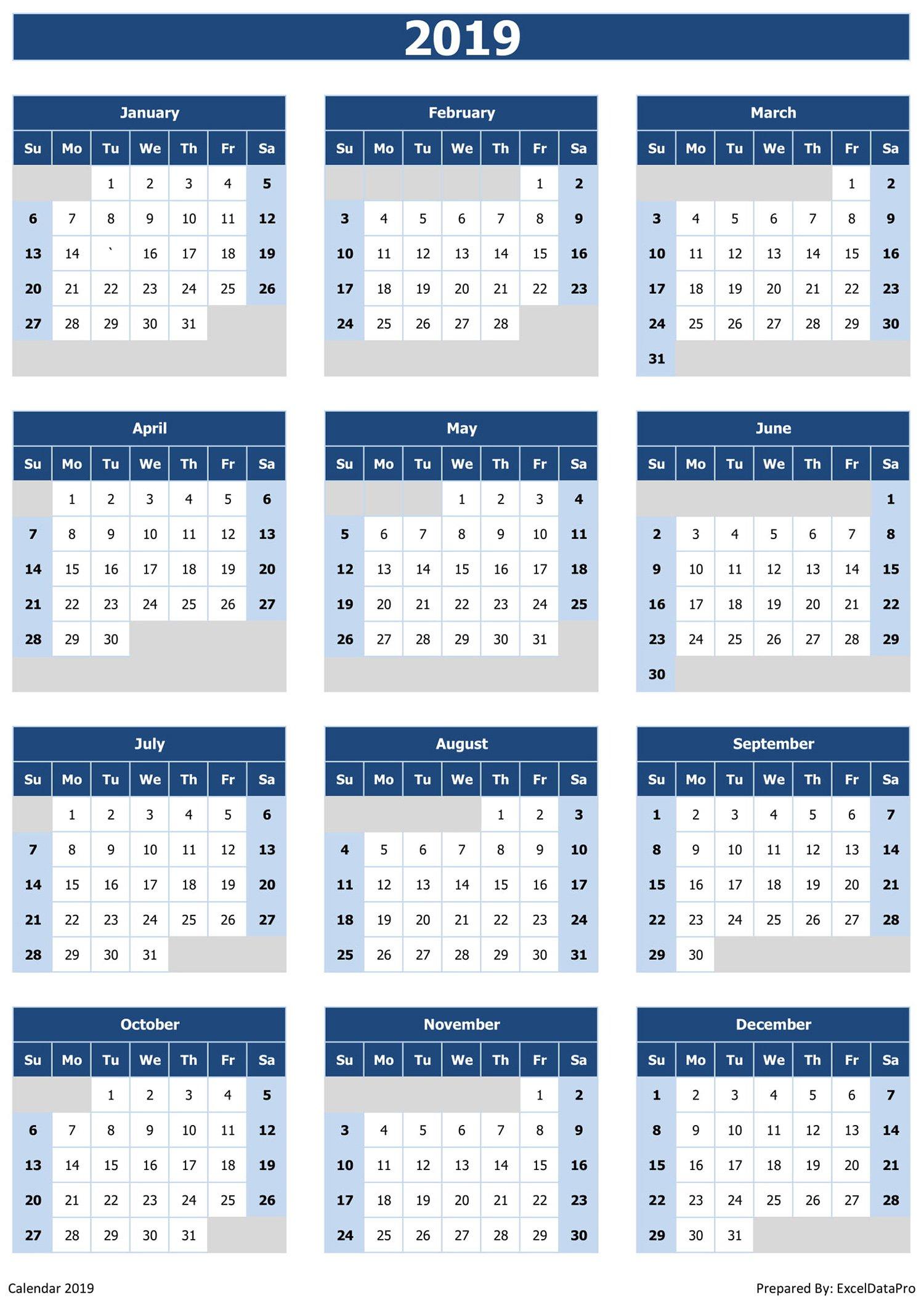 2019 Calendar Excel Templates, Printable Pdfs & Images – Exceldatapro Calendar 2019 View