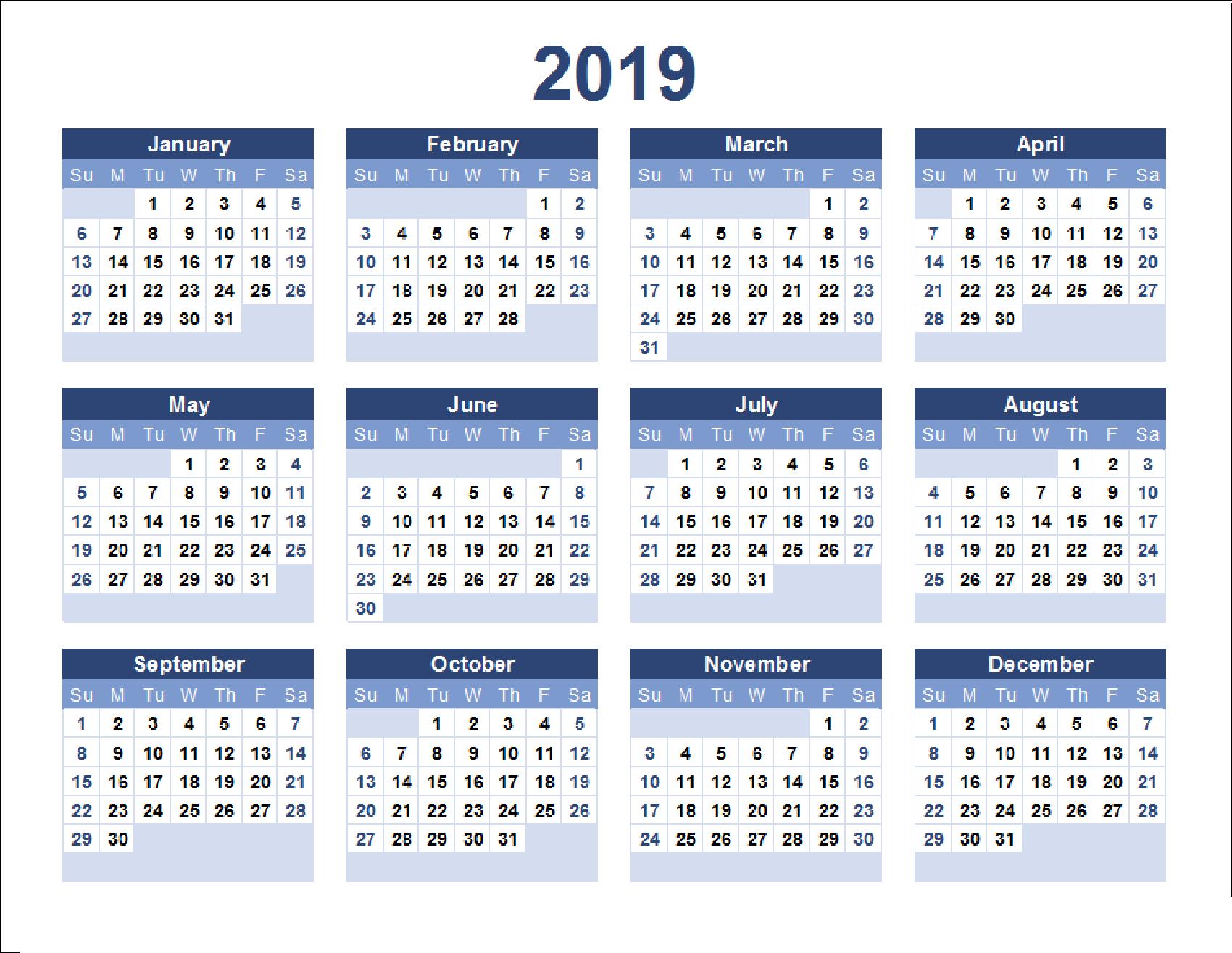 2019 Calendar Excel, Word, Pdf Templates – Printable Monthly Calendar Calendar 2019 Year Excel