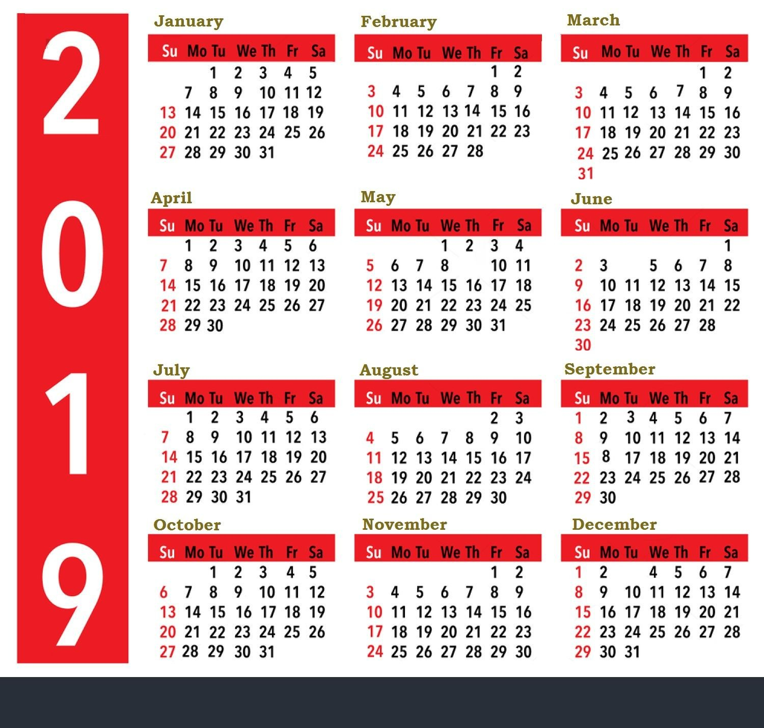 2019 Calendar For United States Holidays All Important Dates And Calendar 2019 List