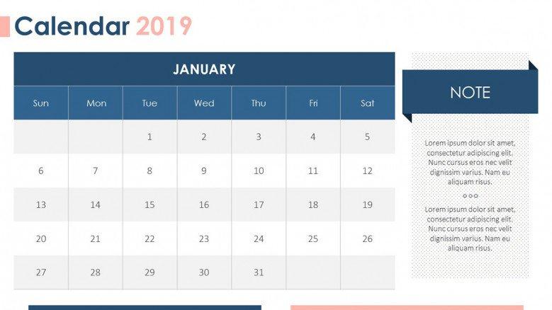 2019 Calendar | Free Powerpoint Template Calendar 2019 Template Powerpoint
