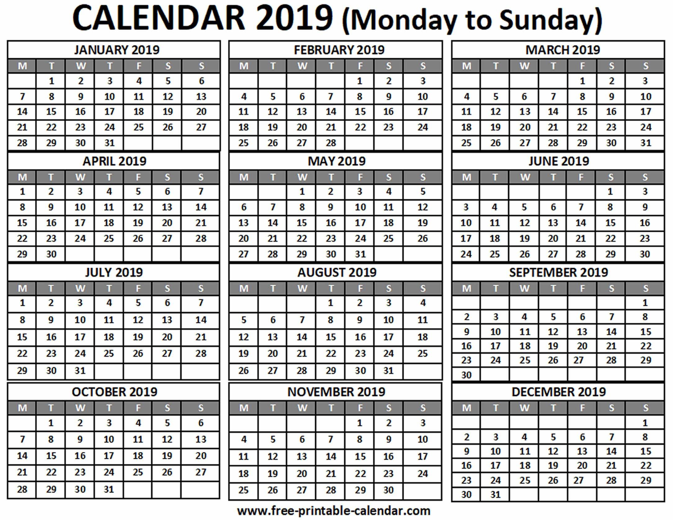 2019 Calendar – Free Printable Calendar Term 1 Calendar 2019