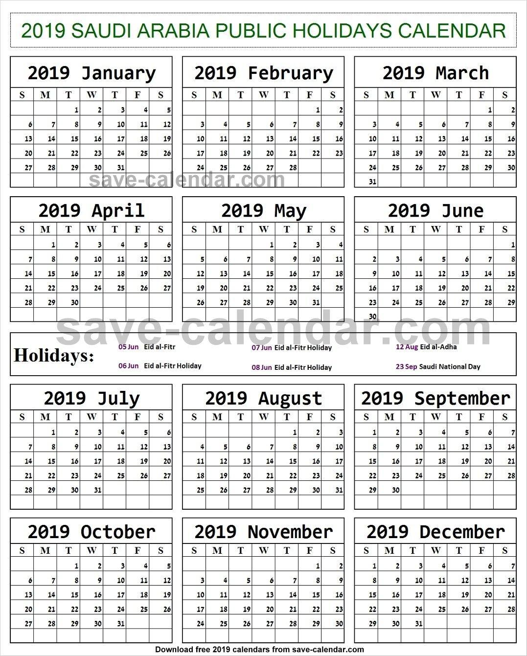 2019 Calendar Holidays Saudi Arabia Printable | Holidays Calendar Calendar 2019 Ksa