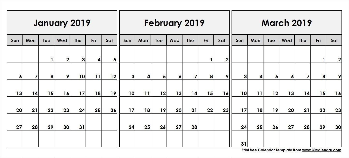 2019 Calendar Jan Feb March | Calendar Template | 555+ December Calendar 2019 January February March