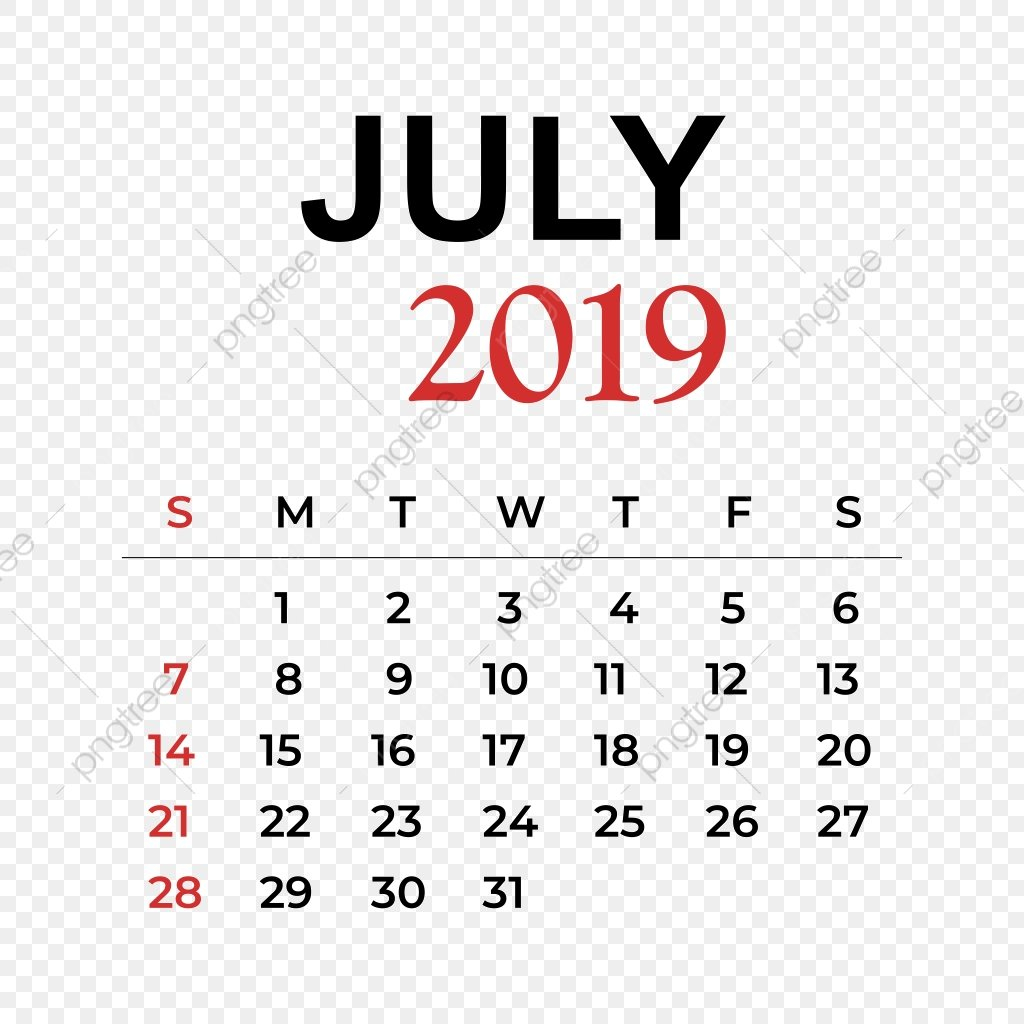 2019 Calendar July Month, Calendar, Year, Week Png And Vector With July 8 2019 Calendar