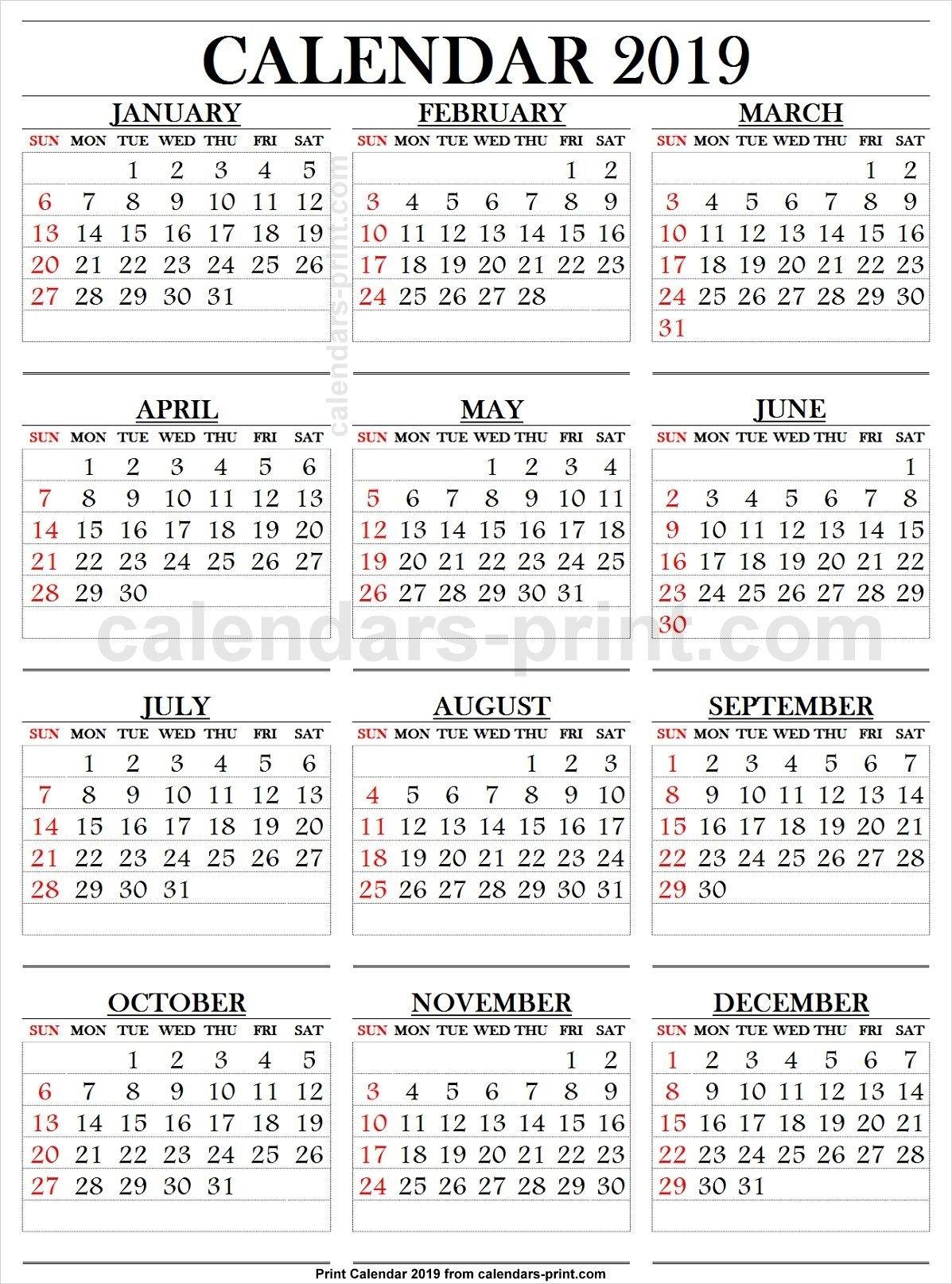 2019 Calendar Large Numbers | 2019 Yearly Calendar | 2019 Calendar Calendar 2019 Large Printable