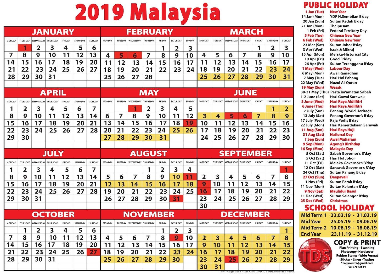 2019 Calendar Malaysia – Kalendar 2019 Malaysia Calendar 2019 Malaysia