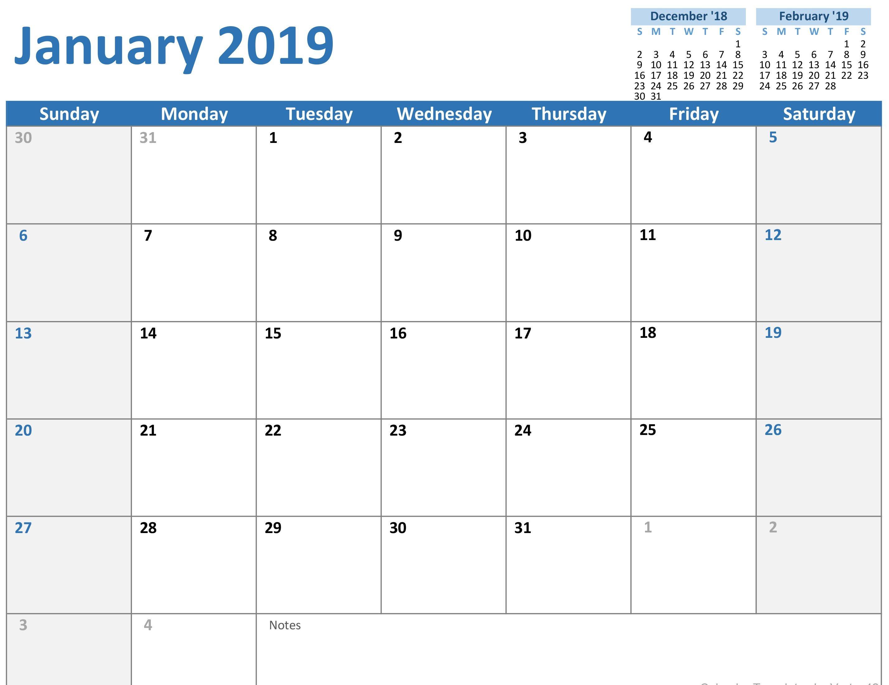 2019 Calendar (Mon Sun) Calendar 2019 Template Powerpoint