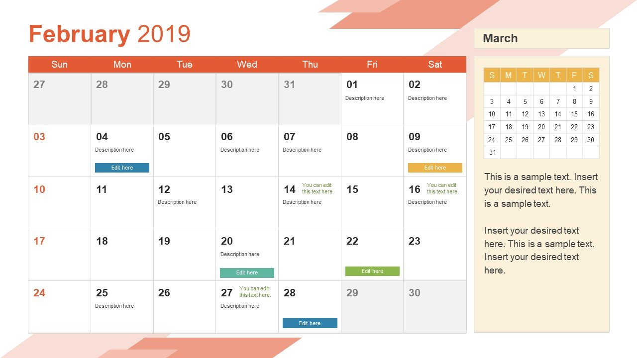 2019 Calendar Powerpoint Template – Slidemodel Calendar 2019 Monthly