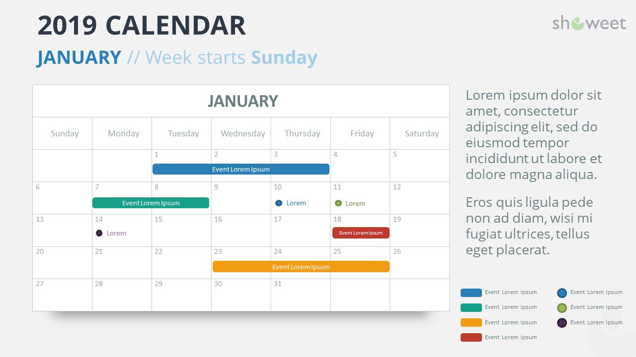 2019 Calendar Powerpoint Templates Calendar 2019 Template Powerpoint