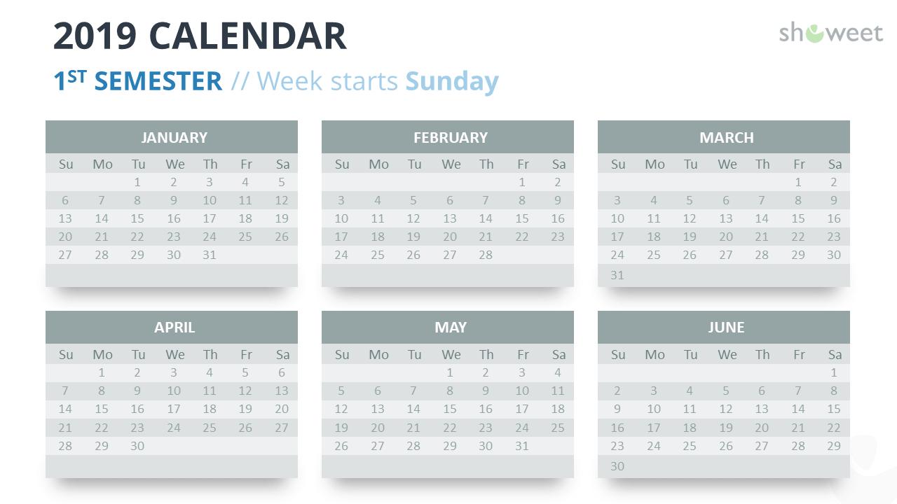 2019 Calendar Powerpoint Templates Calendar Week 6 2019