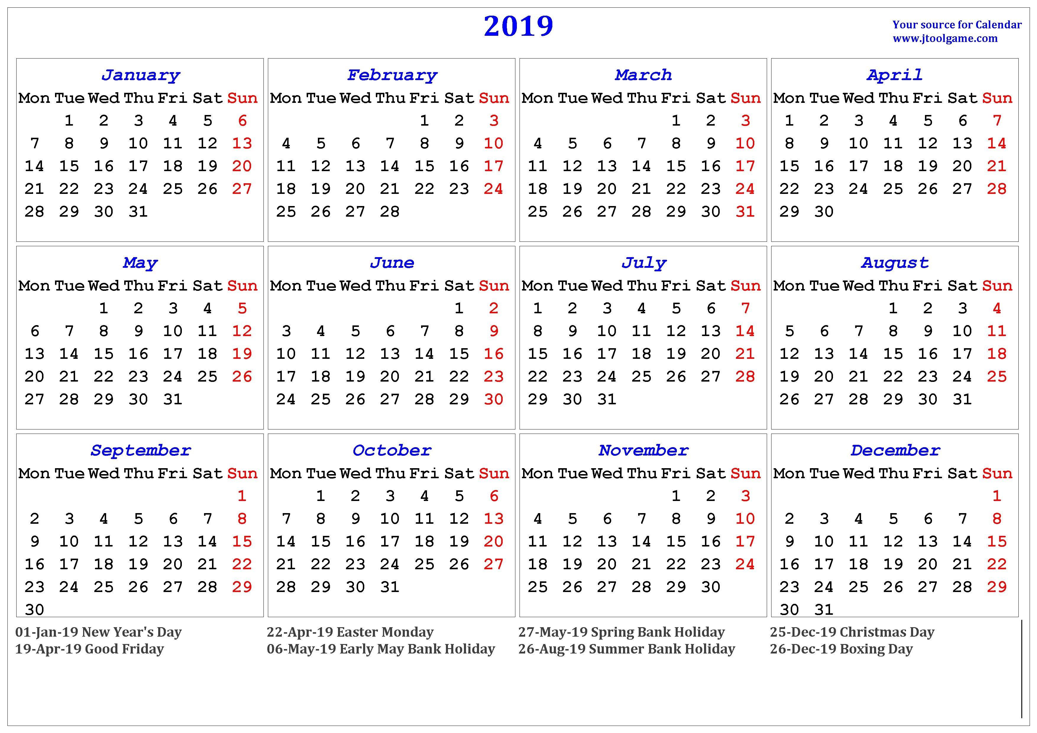 2019 Calendar – Printable Calendar. 2019 Calendar In Multiple Colors Calendar 2019 All Holidays
