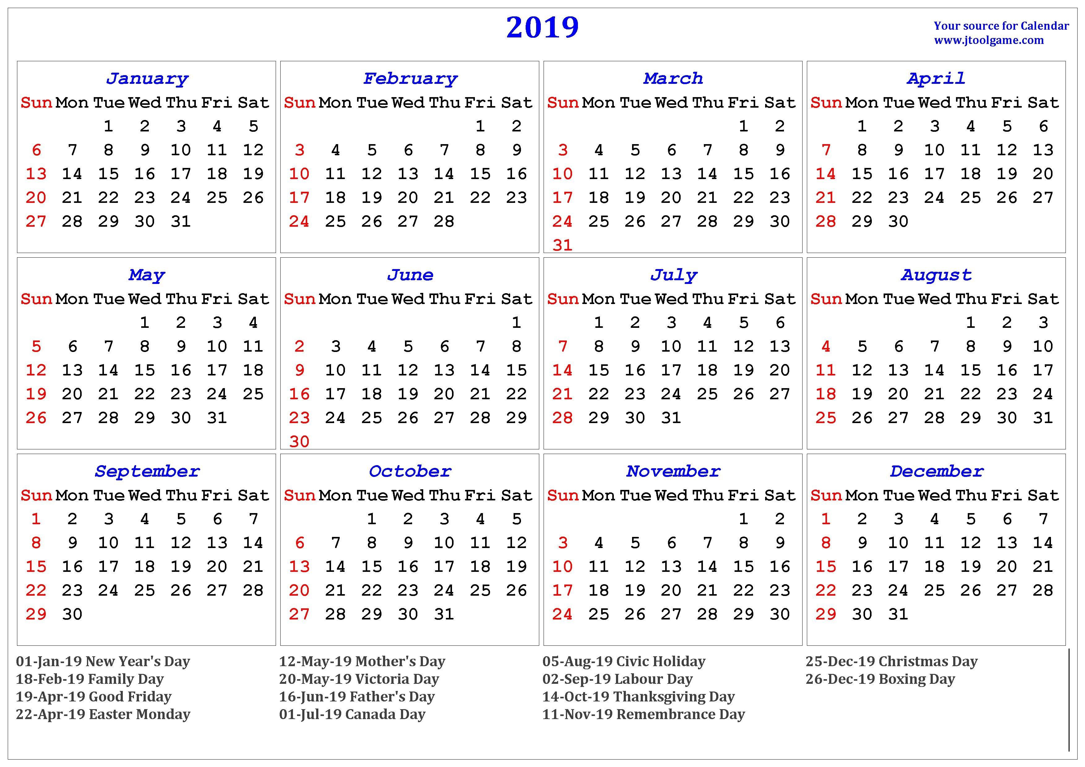 2019 Calendar – Printable Calendar. 2019 Calendar In Multiple Colors Calendar 2019 Canada