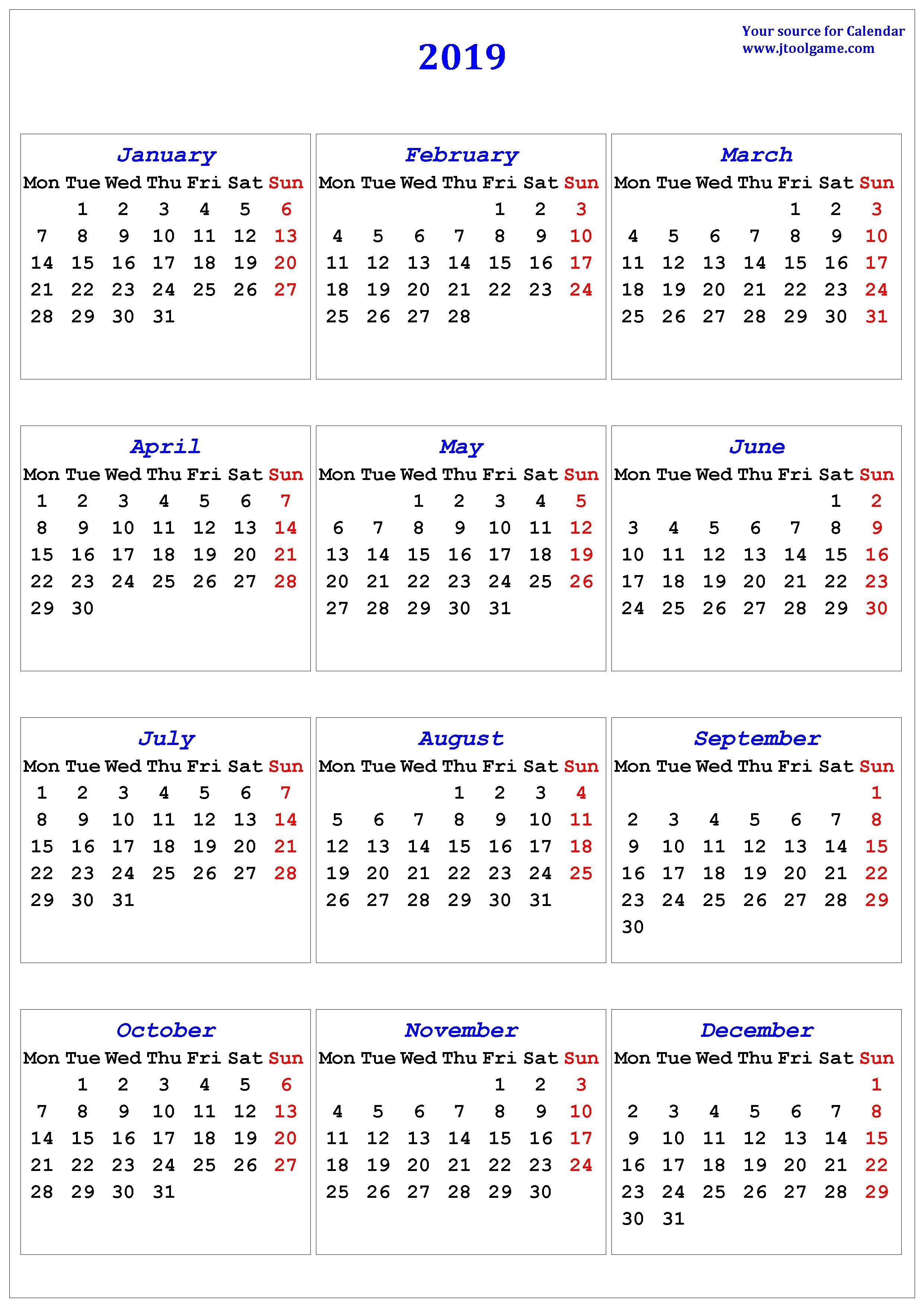 2019 Calendar – Printable Calendar. 2019 Calendar In Multiple Colors Calendar 2019 Germany Week Numbers