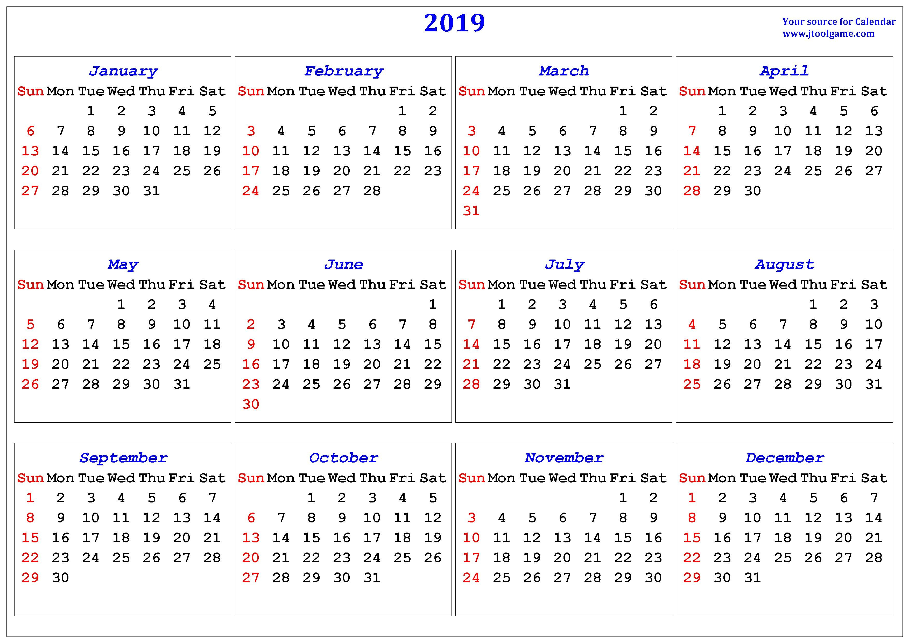 2019 Calendar – Printable Calendar. 2019 Calendar In Multiple Colors Calendar 2019 Landscape