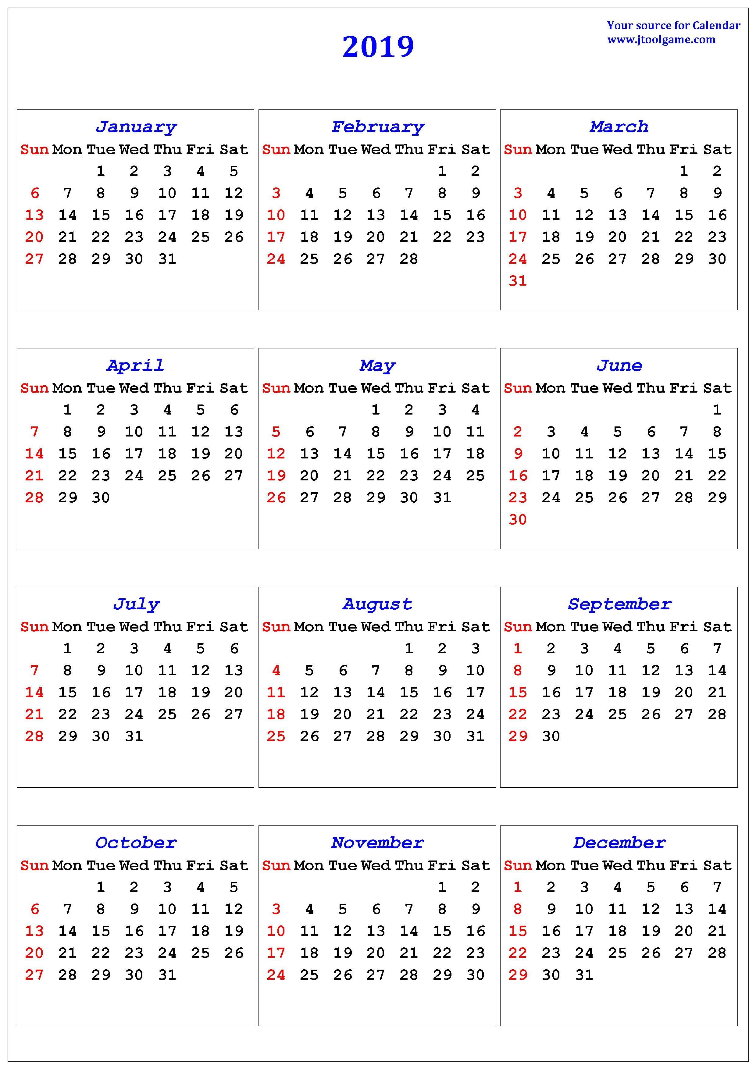 2019 Calendar – Printable Calendar. 2019 Calendar In Multiple Colors Calendar 2019 United States