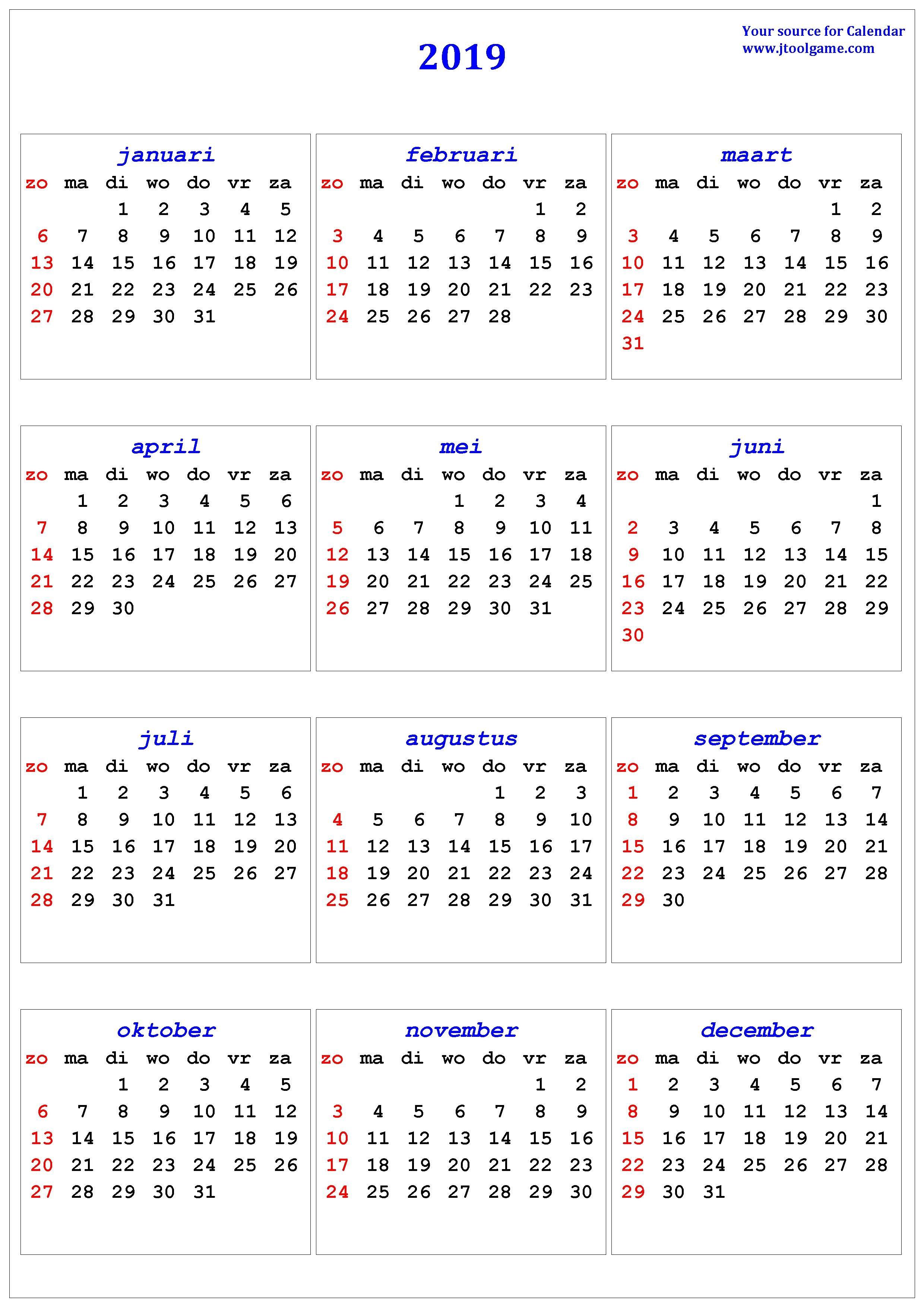 2019 Calendar – Printable Calendar. 2019 Calendar In Multiple Colors Calendar 2019 Za
