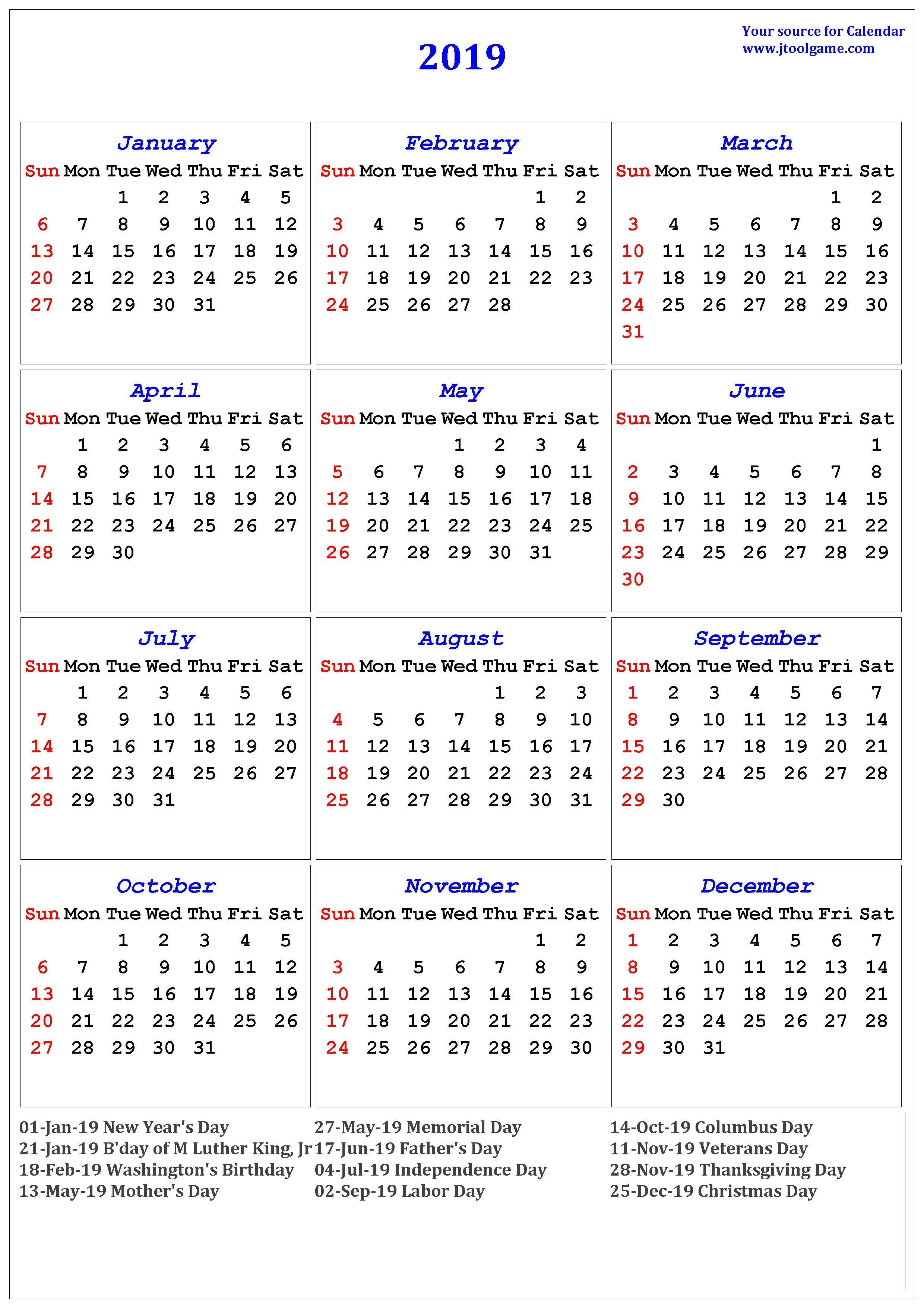 2019 Calendar – Printable Calendar. 2019 Calendar In Multiple Colors M Day Calendar 2019
