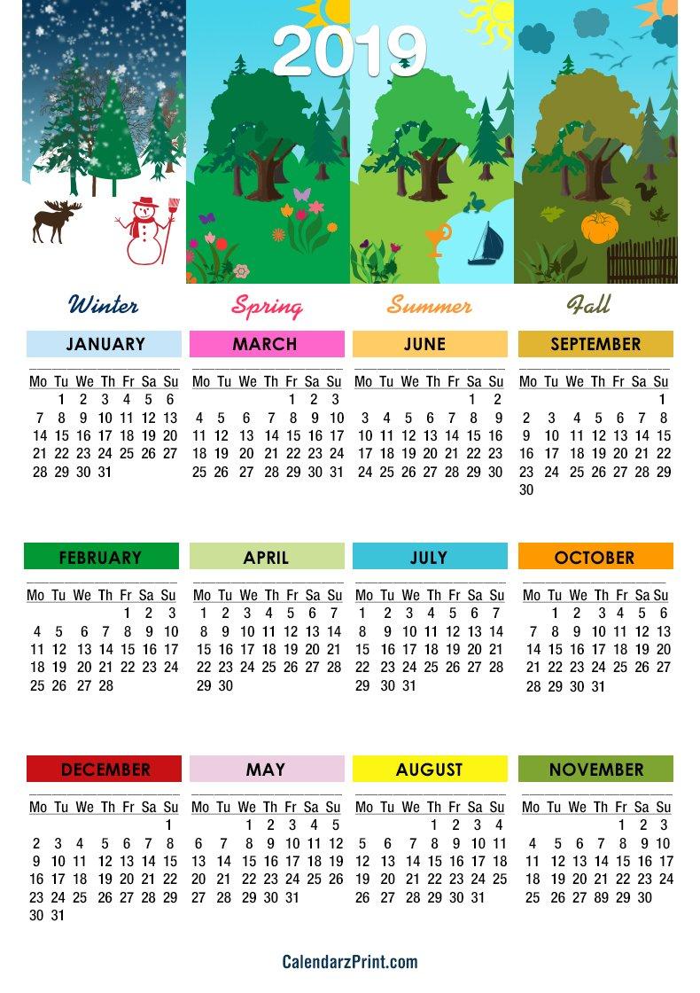 2019 Calendar – Printable – Free – 4 Seasons Calendar 2 – Monday 4 Seasons Calendar 2019