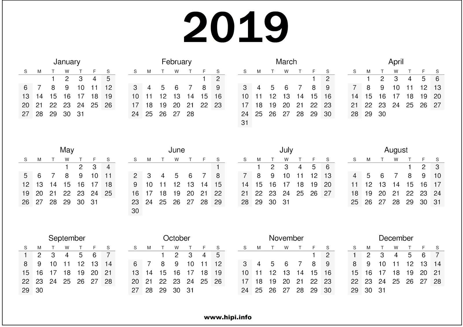 2019-Calendar-Printable-Free007 - Addicted2Adventure Calendar 2019 Za