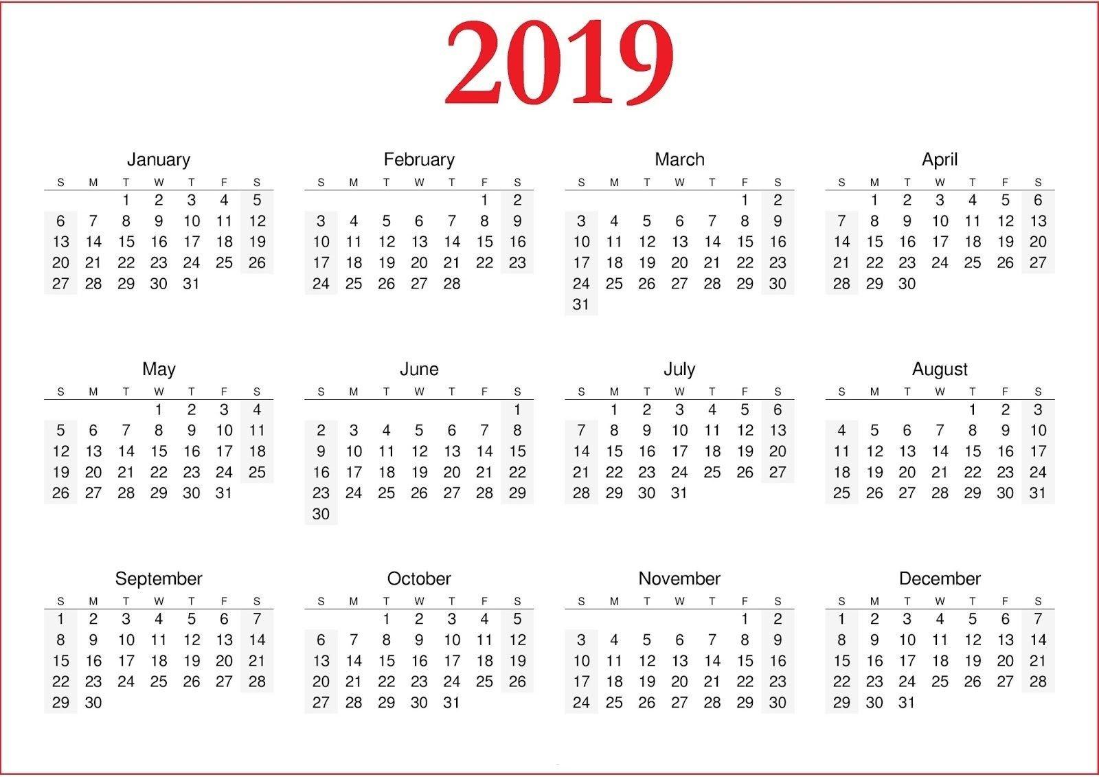 2019 Calendar Printable Nz   Yearly Calendar In One Page   Printable Calendar 2019 Nz