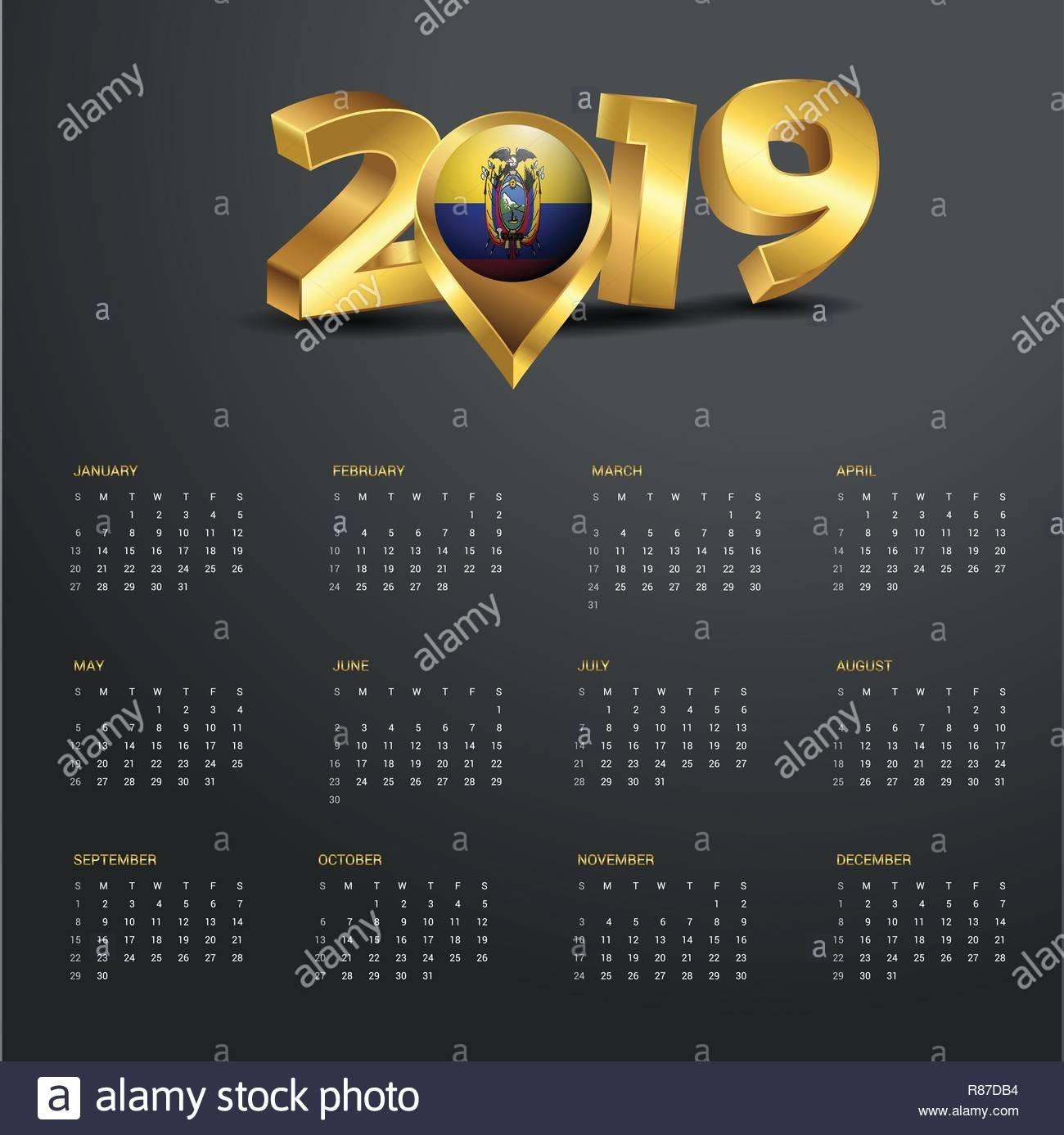 2019 Calendar Template. Ecuador Country Map Golden Typography Header Calendar 2019 Ecuador