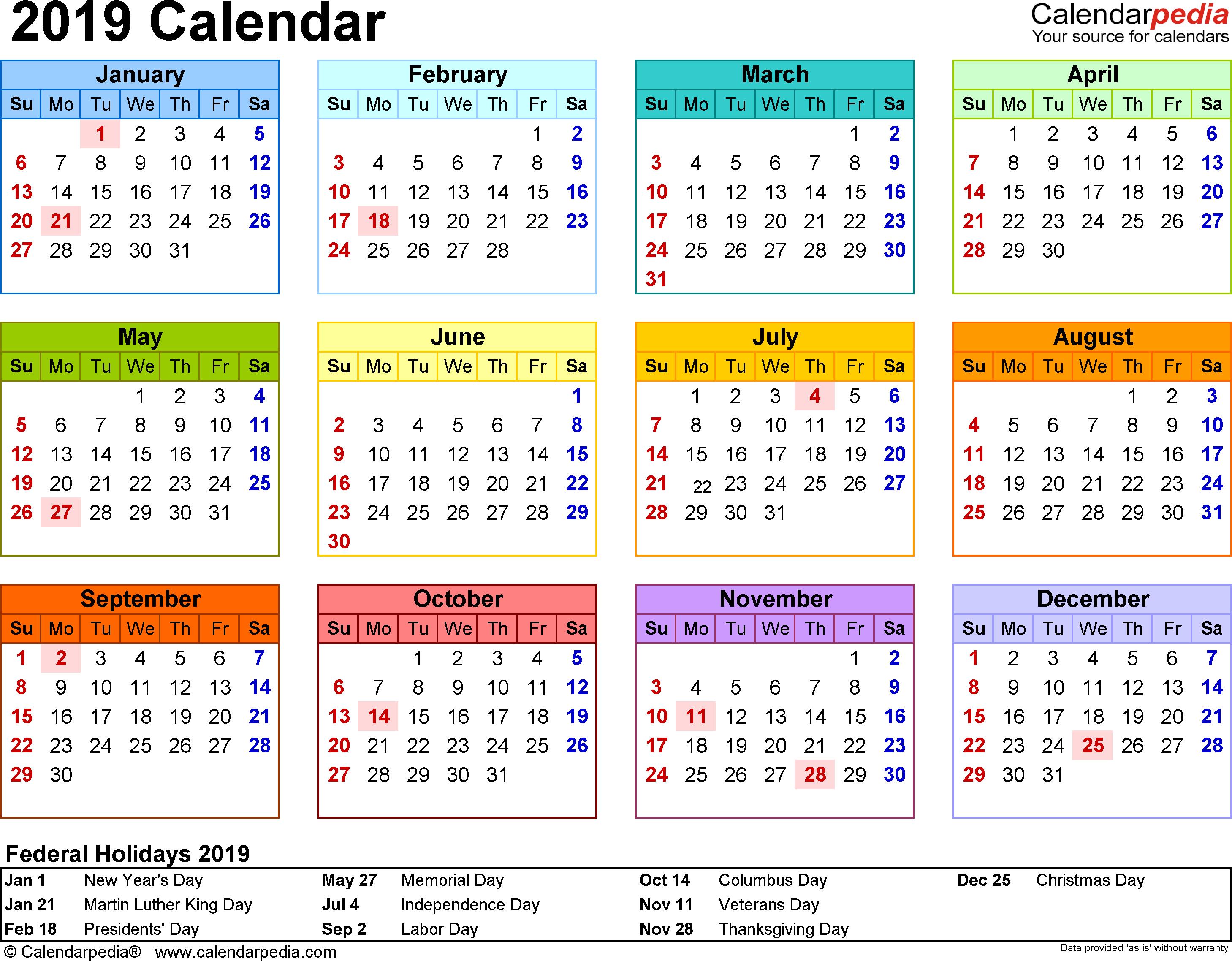 2019 Calendar Template – Free Printable Calendar, Templates And Holidays Calendar 2019 With Holidays Printable
