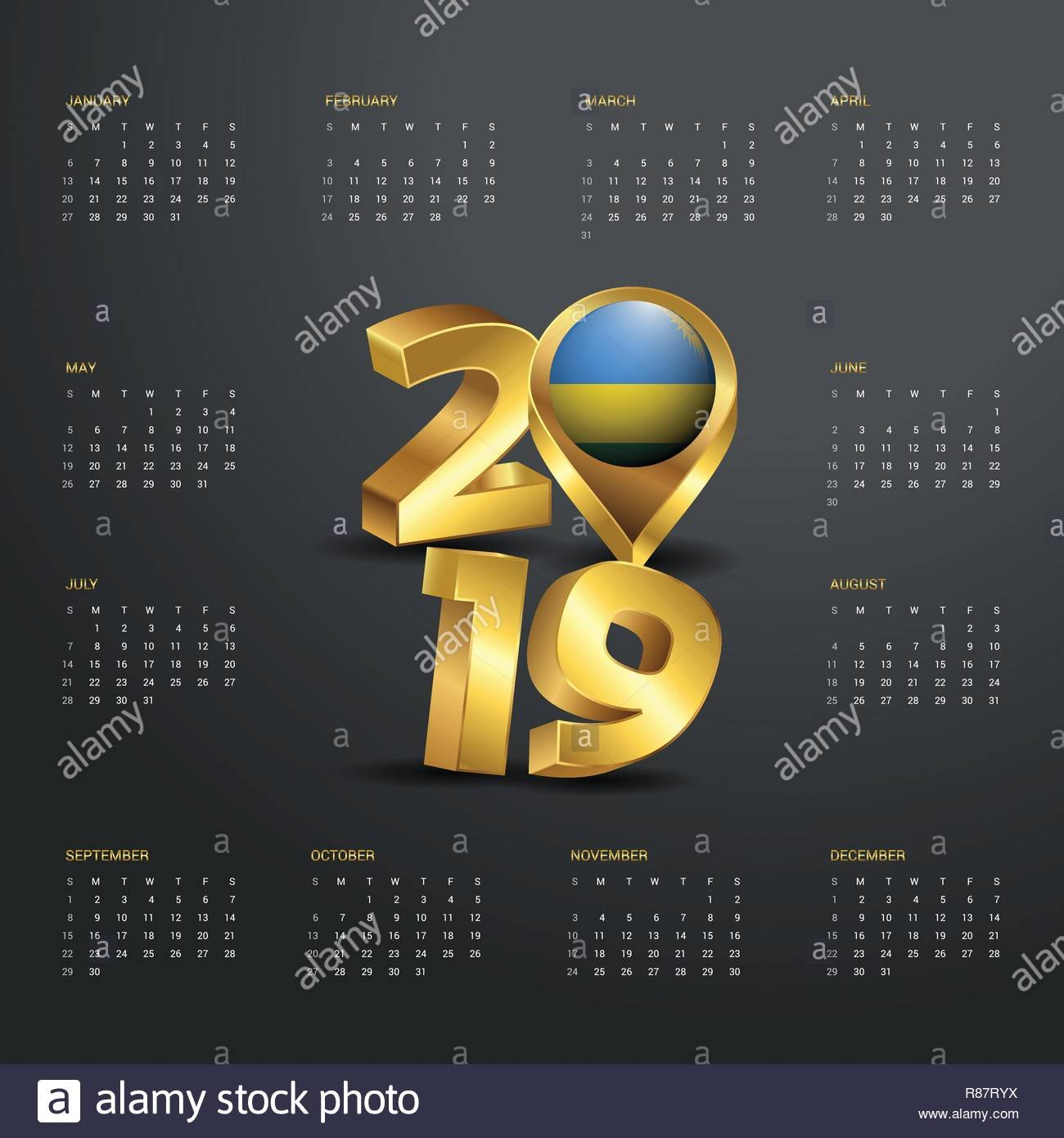 2019 Calendar Template. Golden Typography With Rwanda Country Map Calendar 2019 Rwanda