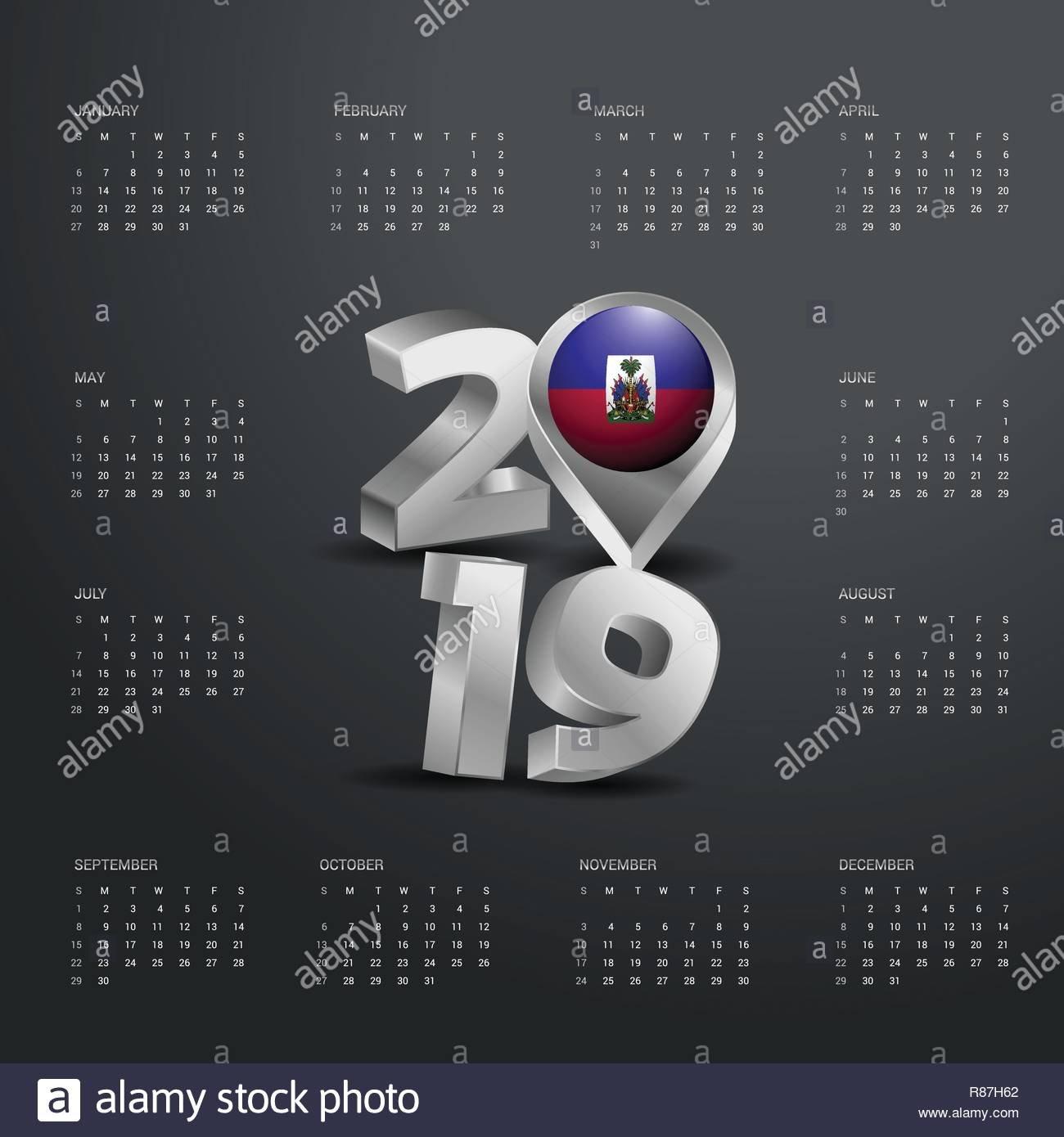 2019 Calendar Template. Grey Typography With Haiti Country Map Calendar 2019 Haiti