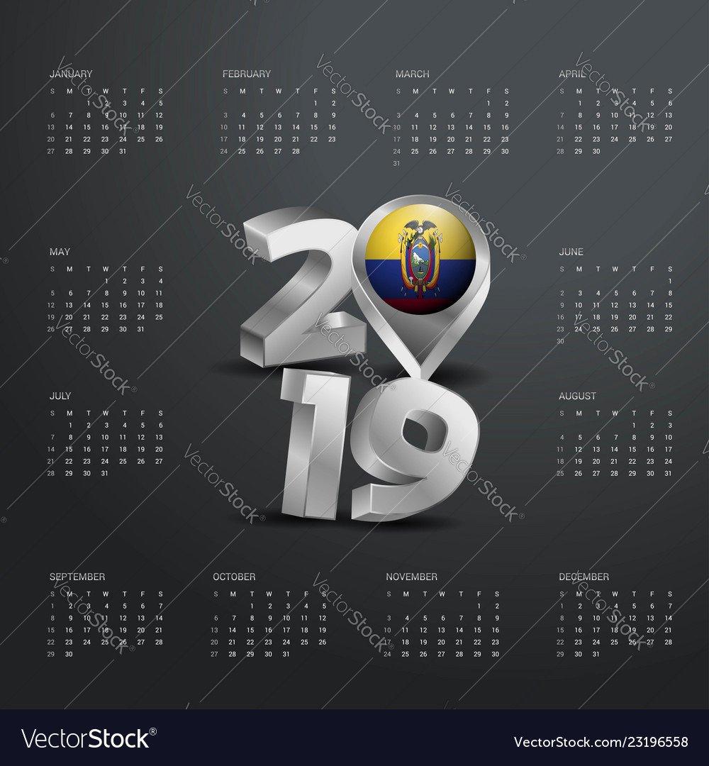 2019 Calendar Template Grey Typography With Vector Image Calendar 2019 Ecuador
