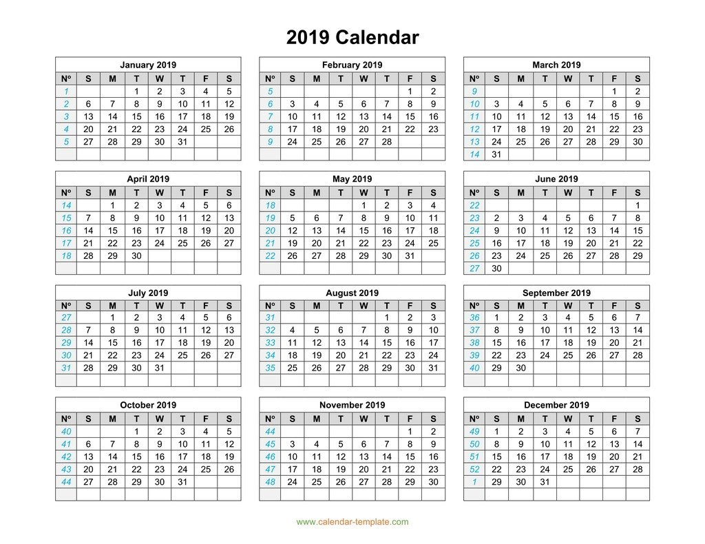 2019 Calendar Template On One Page Calendar 2019 Year To A Page