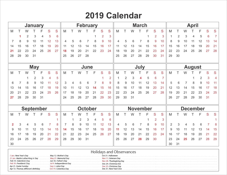 2019 Calendar Template Qld • Printable Blank Calendar Template Calendar 2019 Qld Pdf