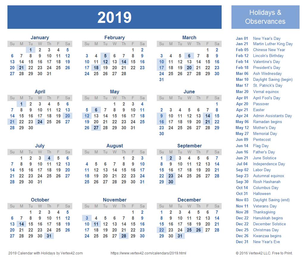 2019 Calendar Templates And Images Calendar 2019 With Holidays Printable